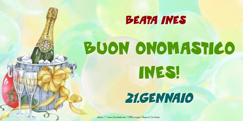 Cartoline di onomastico - Beata Ines Buon Onomastico, Ines! 21.Gennaio