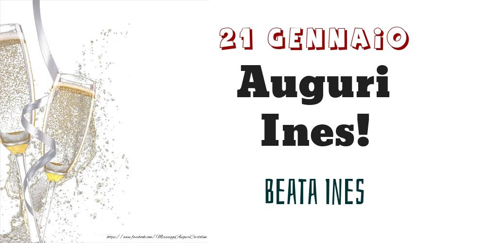 Cartoline di onomastico - Beata Ines Auguri Ines! 21 Gennaio