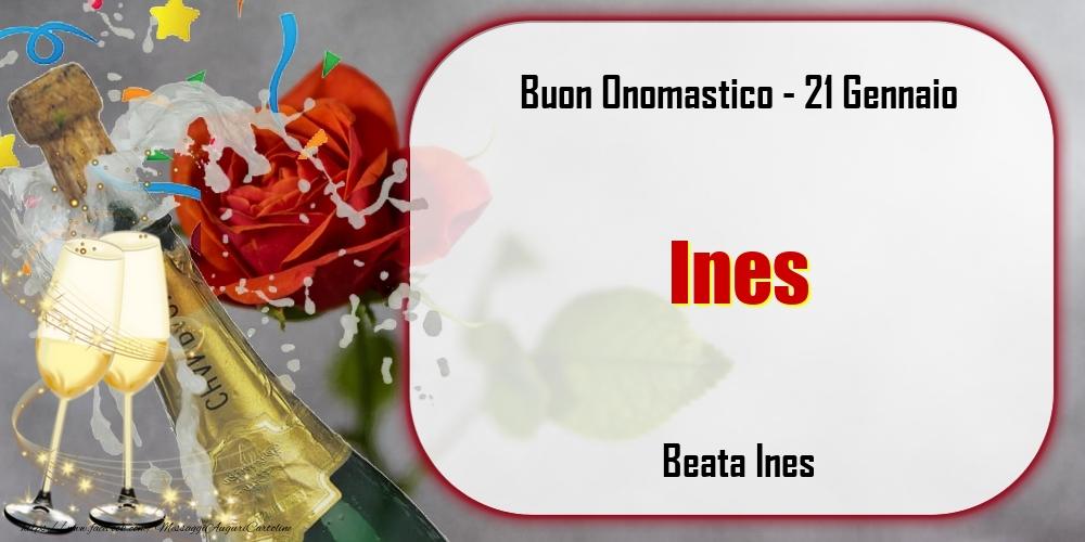 Cartoline di onomastico - Beata Ines Buon Onomastico, Ines! 21 Gennaio