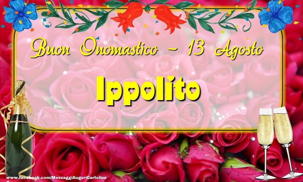 Cartoline di onomastico - Buon Onomastico, Ippolito! 13 Agosto