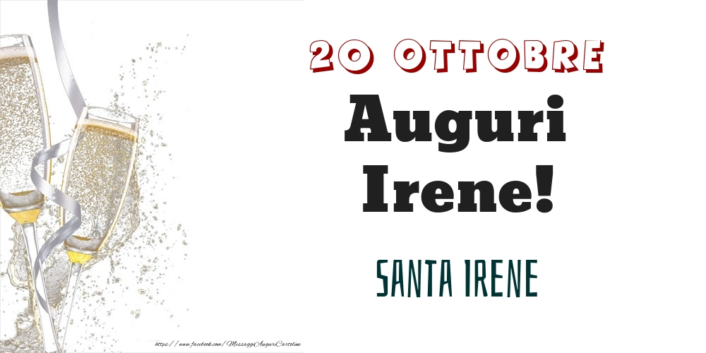 Cartoline di onomastico - Santa Irene Auguri Irene! 20 Ottobre