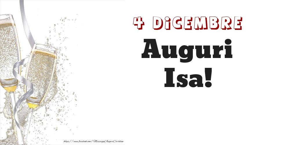 Cartoline di onomastico - Auguri Isa! 4 Dicembre