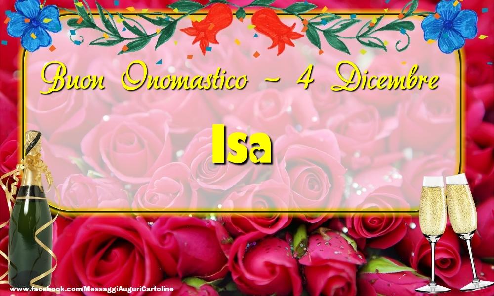Cartoline di onomastico - Buon Onomastico, Isa! 4 Dicembre