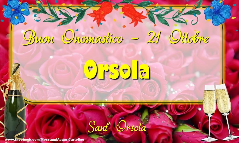 Cartoline di onomastico - Sant' Orsola Buon Onomastico, Orsola! 21 Ottobre