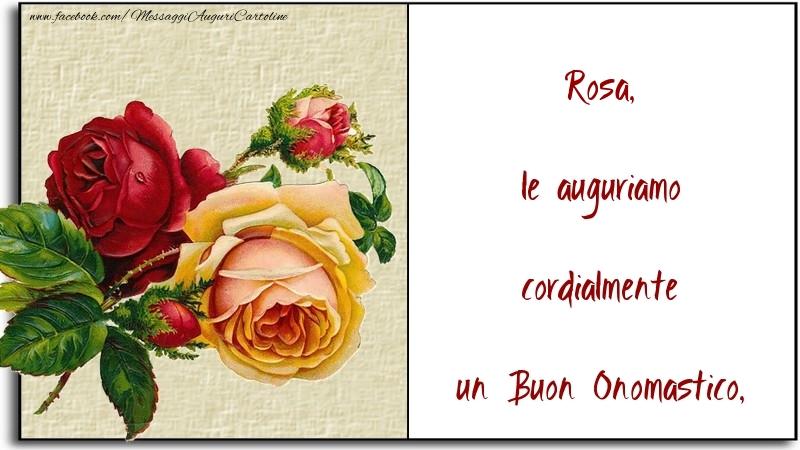 Le Auguriamo Cordialmente Un Buon Onomastico Rosa Cartoline Di