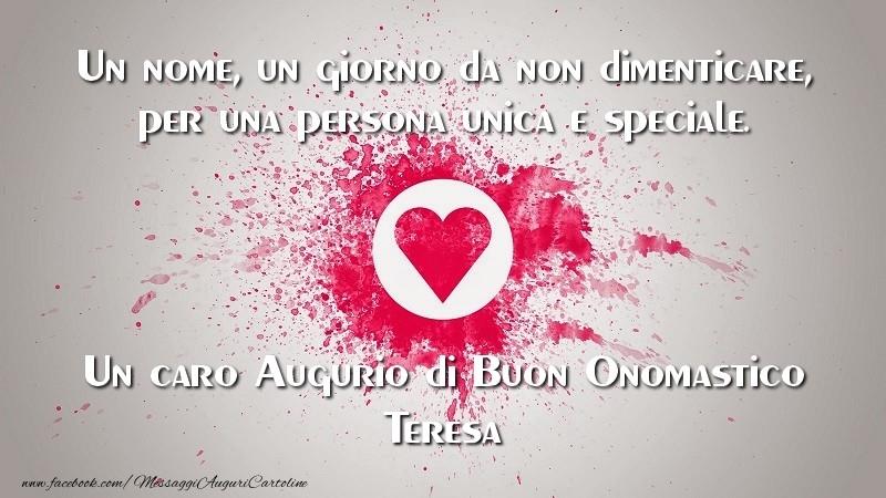 Célèbre Tanti Auguri di Buon Onomastico, Teresa - Cartoline di onomastico  DI82