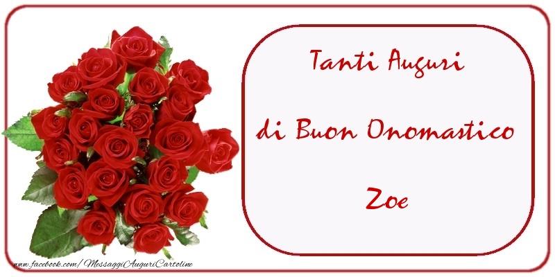 Cartoline di onomastico - Tanti Auguri di Buon Onomastico Zoe