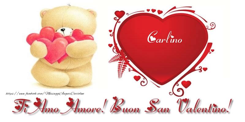 Cartoline di San Valentino - Carlino nel cuore: Ti Amo Amore! Buon San Valentino!