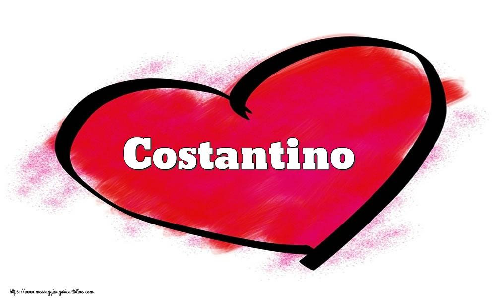 Cartoline di San Valentino - Nome Costantino  nel cuore