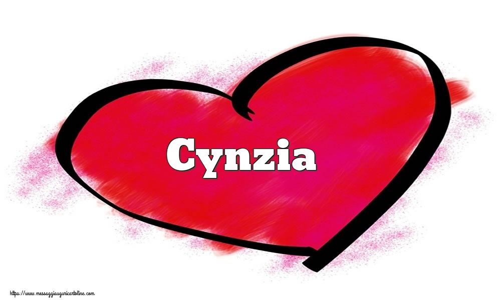 Cartoline di San Valentino - Nome Cynzia  nel cuore