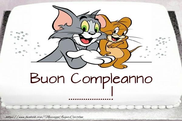 Cartoline personalizzate per bambini - Torta Tom e Jerry: Buon Compleanno ...!