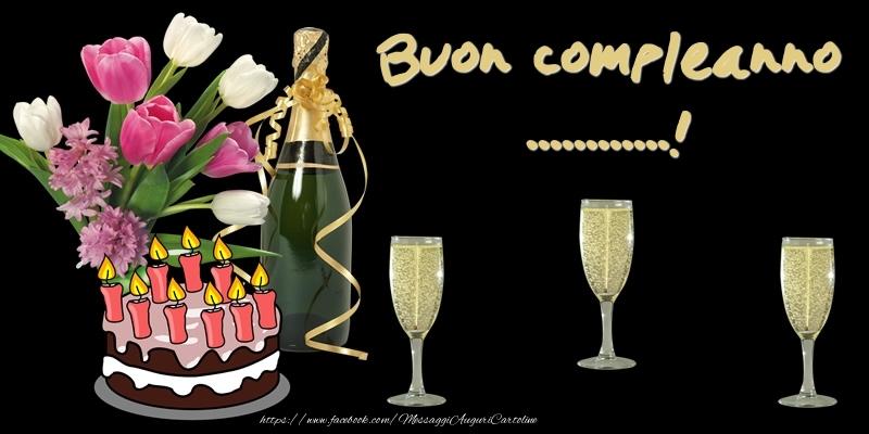 Cartoline personalizzate di compleanno - Torta e Fiori: Buon Compleanno ...!