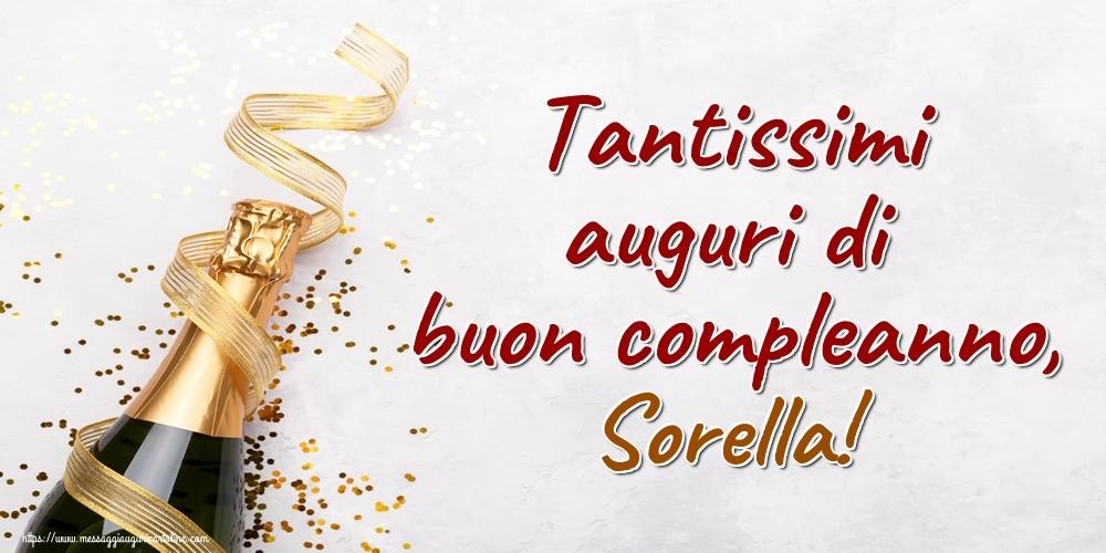Cartoline di auguri per Sorella - Tantissimi auguri di buon compleanno, sorella!