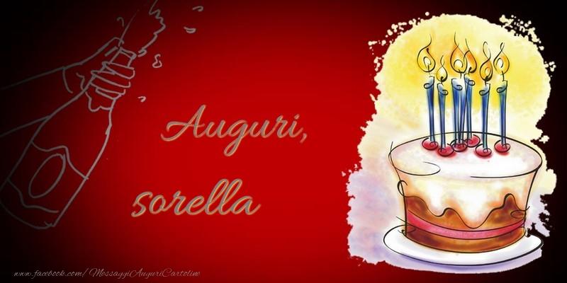 Cartoline di auguri per Sorella - Auguri, sorella