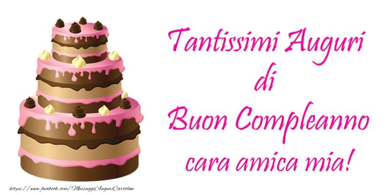 Populaire Cartoline di compleanno per Amica - Torta - Tantissimi Auguri di  UG14
