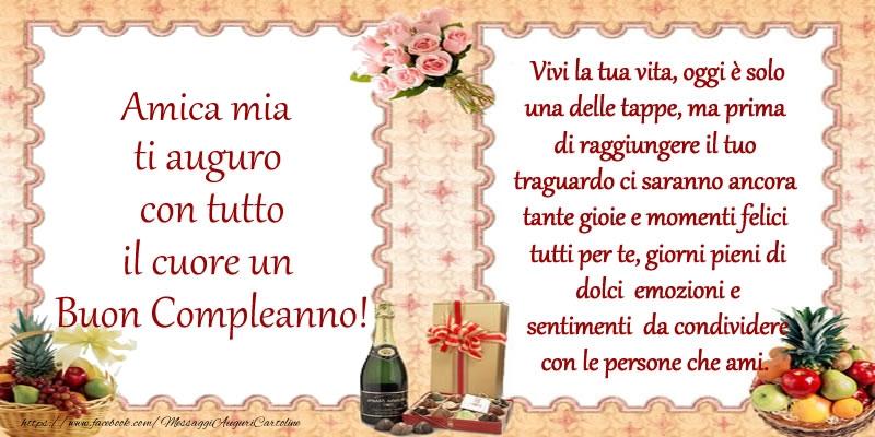 Populaire Cartoline di compleanno per Amica - Amica mia ti auguro con tutto  QF13
