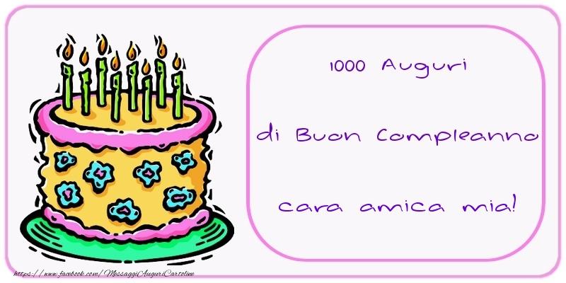 Favorito Cartoline di compleanno per Amica - 1000 Auguri di Buon Compleanno  ME46