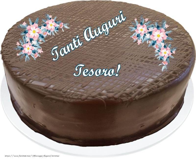 Cartoline di compleanno per Fidanzato - Tanti Auguri tesoro! - Torta al cioccolato