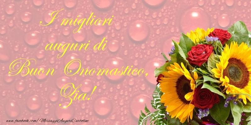 Cartoline di onomastico per Zia - I migliori auguri di Buon Onomastico, zia